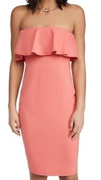 Susana Monaco Strapless Ruffle Midi Dress Fire Coral – strapless ruffle trim dresses
