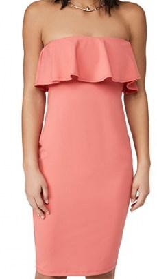 Susana Monaco Strapless Ruffle Midi Dress Fire Coral – strapless ruffle trim dresses - flipped