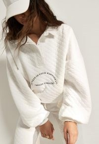 MISSGUIDED tall white co ord quilted health is wealth oversized polo shirt ~ sporty slogan tops