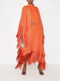 Taller Marmo Mrs Ross fringed kaftan dress ~ glamorous orange occasion dresses