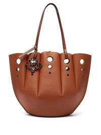 LOEWE Shell perforated leather tote bag in tan