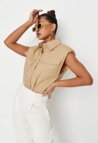 MISSGUIDED tan shoulder pad sleeveless shirt ~ light brown utility shirts
