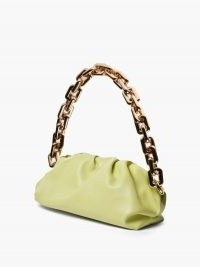 BOTTEGA VENETA The Chain Pouch green leather shoulder bag ~ luxe handbag with chunky gold strap