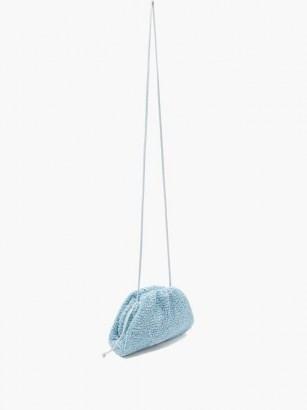 BOTTEGA VENETA The Pouch mini bouclé clutch bag in blue ~ textured bags - flipped
