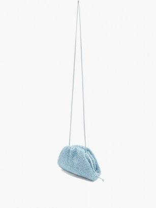 BOTTEGA VENETA The Pouch mini bouclé clutch bag in blue ~ textured bags