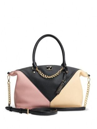 VICTORIA'S SECRET The Victoria Slouchy Satchel Blush Colourblock – colour block handbags - flipped