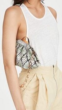 THE VOLON Gabi Mini Bag / green snake embossed bag