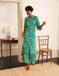 BODEN Tia Jersey Maxi Dress Sapling, Enchanted Garden / green long length frill hem dresses