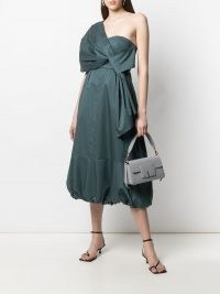Tibi Eco one shoulder dress ~ green bubble hem dresses ~ asymmetric necklines