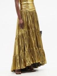 ALEXANDRE VAUTHIER Tiered silk-blend lamé skirt ~ metallic-gold skirts