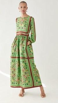 Tory Burch Printed Silk Maxi Dress Green Splash