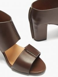 LEMAIRE Two-strap leather sandals ~ dark brown block heel shoes with wide straps