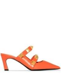 Valentino Garavani Roman Stud 65mm orange mules / studded point toe mule