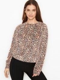 VICTORIA'S SECRET Velour Crewneck – animal print loungewear – leopard crew neck top