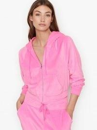 VICTORIA'S SECRET Velour Front-zip Hoodie – bright pink loungewear – zipped hoodies