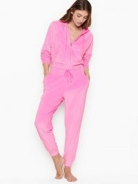 VICTORIA'S SECRET Velour Jogger – bright pink cuffed joggers – neon peony loungewear