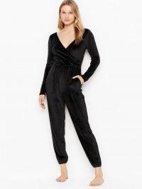 VICTORIA'S SECRET Velour Jumpsuit – black loungewear jumpsuits