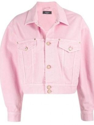 Versace cropped pink denim jacket - flipped