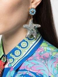 Versace crystal-embellished starfish earrings / sea inspired statement jewellery