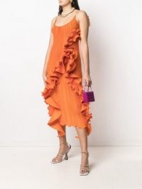 Versace ruffle trim pleated midi dress / orange ruffled slip dresses