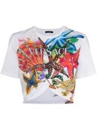 Versace Trésor de la Mer print cropped T-shirt / ocean inspired prints