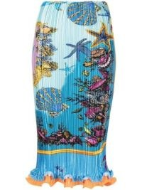 Versace Trésor de La Mer print pleated skirt | lettuce hem skirts
