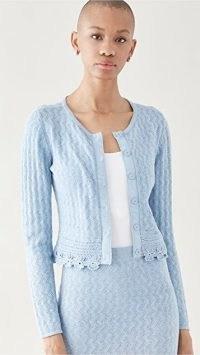 Victor Glemaud Pointelle Cardigan ~ baby blue crochet trim cardigans