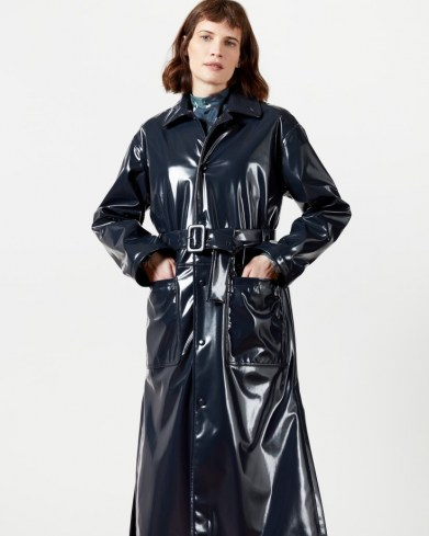 TED BAKER TINNAH Vinyl trench ~ high shine belted coats - flipped