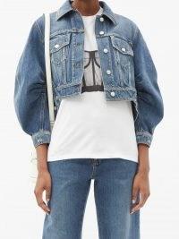 ALEXANDER MCQUEEN Voluminous-sleeve cropped denim jacket ~ crop hem volume sleeved jackets