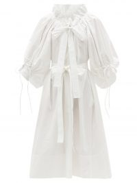 HORROR VACUI Alice gathered cotton-poplin dress – white voluminous dresses with gathers and frills