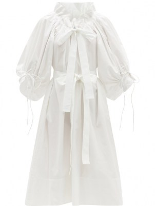 HORROR VACUI Alice gathered cotton-poplin dress – white voluminous dresses with gathers and frills - flipped
