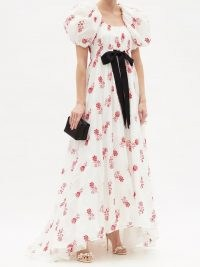 ERDEM Clarimond floral-embroidered cotton gown – romantic spring gowns – alternative bridal dresses – summer event clothing
