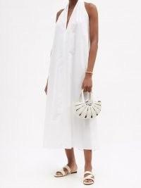 LA COLLECTION Claudia halterneck cotton-blend poplin dress / white halter neck summer dresses / effortless style clothing
