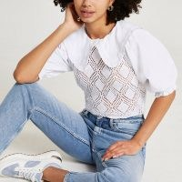 River Island White crochet collar short sleeve blouse top – frill trim puff sleeve blouses – oversized collared tops