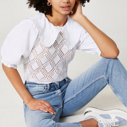 River Island White crochet collar short sleeve blouse top – frill trim puff sleeve blouses – oversized collared tops - flipped