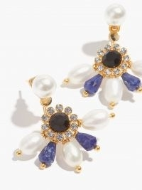 ERDEM Crystal & faux-pearl fan earrings – blue and white floral drops