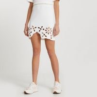 River Island White cut work floral mini skirt | cut out skirts