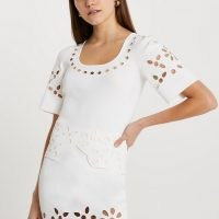 River Island White cut work knitted t-shirt | short sleeve cut-out tops