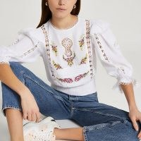 RIVER ISLAND White embroidered frill sleeve blouse top / floral cut-out detail blouses