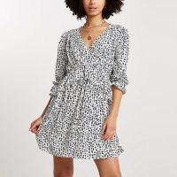 River Island White leopard print mini dress – ruffle trimmed dresses