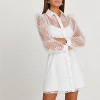 RIVER ISLAND White organza embroidered shirt mini dress / semi sheer dresses with floral cut out details