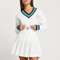 River Island White pleated RI mini skirt | A-line skirts