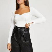 River Island White ribbed long sleeve top | fitted bust tops