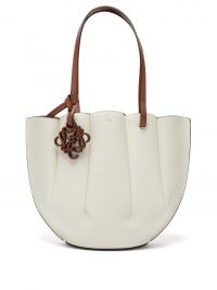 LOEWE Shell small white leather tote bag / ocean inspired bags / shells