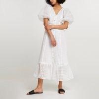 River Island White spot mesh puff sleeve midi dress   frill hem summer dresses