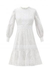 ERDEM Suzette floral-embroidered cotton-blend dress – white summer dresses