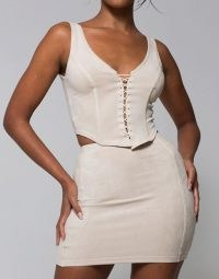 WMNSwear corset style cami top and skirt co ord in ecru ~ faux suede evening fashion set with a fitted lace up front camisole and a classic mini