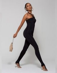 WMNSwear one shoulder lace up back jumpsuit in black ~ bodycon fit all in one with asymmetric neckline