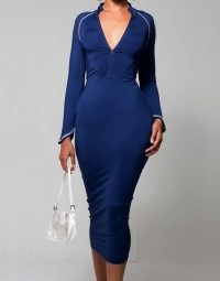 WMNSwear plunge zip front long sleeve midi dress in smokey blue ~ long sleeve bodycon with a plunging neckline
