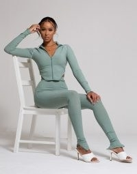 WMNSwear plunge zip front long sleeve top and flared trouser co ord in sage ~ green sporty fashion set with skinny zip-hem trousers and matching crop top